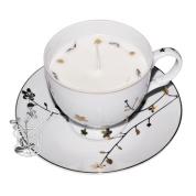 ZELTA ZIEDIŅI: eko sojas vaska svece porcelāna tasītē
